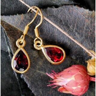 14k Yellow Goldplated Gemstone Artisan Made Dangle Earrings (India)