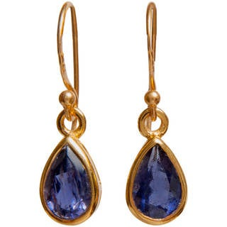 14k Yellow Goldplated Gemstone Artisan Made Dangle Earrings (India)