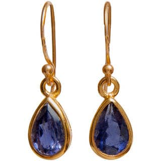 Handmade 14k Yellow Goldplated Gemstone Artisan Made Dangle Earrings (India)
