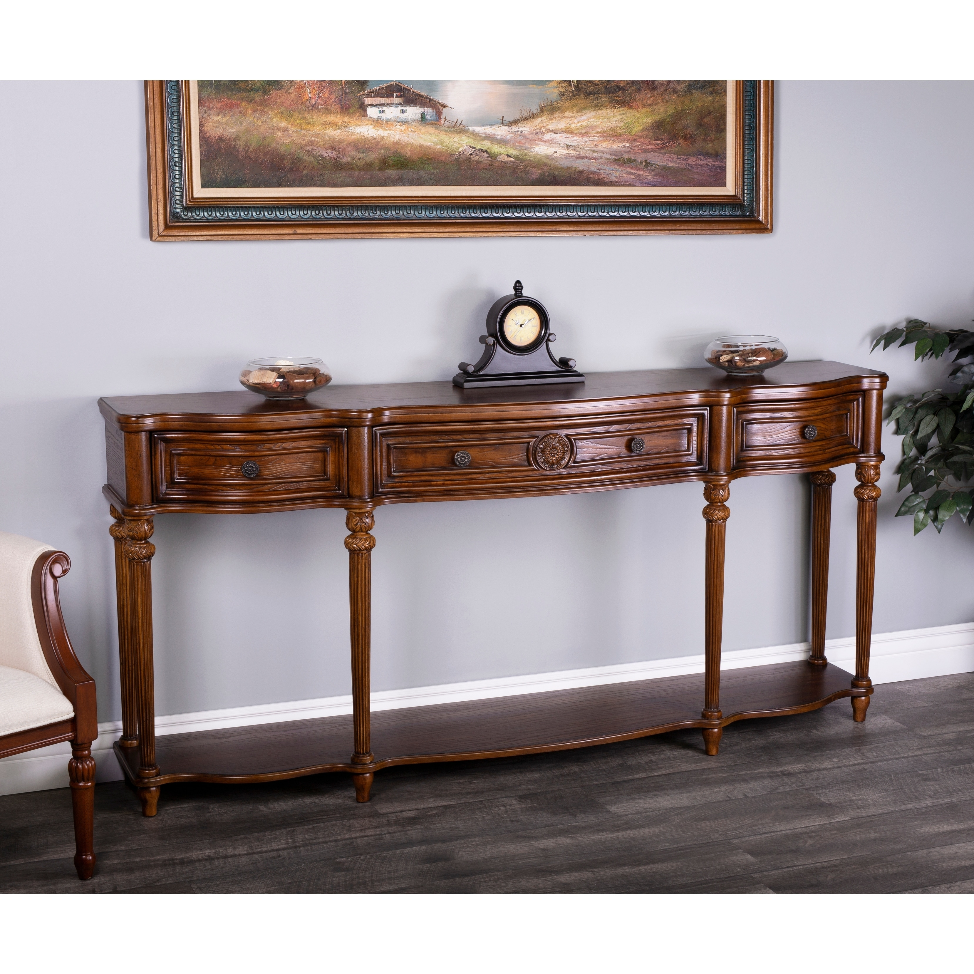 Picture of: Handmade Peyton Vintage Oak Console Table Overstock 11367229
