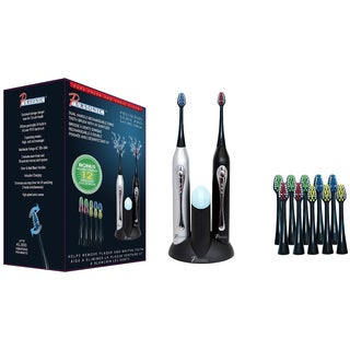 Pursonic S452BS Dual Handle Sonic Toothbrush with UV Sanitizer and 12 Brush Heads (Black and Silver)