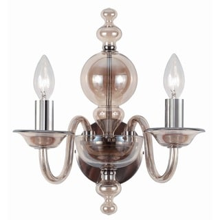 Crystorama Harper Collection 2-light Cognac Glass/Polished Chrome Wall Sconce