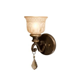 Crystorama Norwalk Collection 1-light Bronze Umber/ Golden Teak Austrian Crystal Strass Wall Sconce