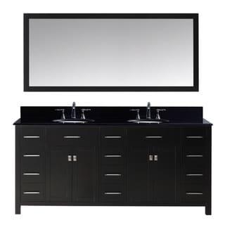 Virtu USA Caroline Parkway 72-inch Double Bathroom Vanity Cabinet Set in Espresso