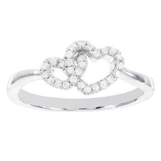 H Star Sterling Silver 1/6ct TDW Diamond Twin Hearts Promise Ring (I-J, I2-I3)