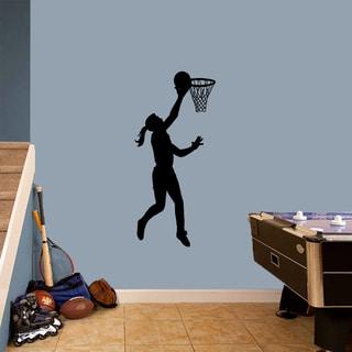 Basketball Girl Layup Wall Decal 22-inch wide x 48-inch tall