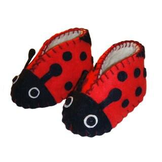 Handcrafted Felt Ladybug Zooties Baby Booties (Kyrgyzstan)