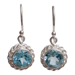 Sterling Silver Gemstone Artisan Made Earrings (India)