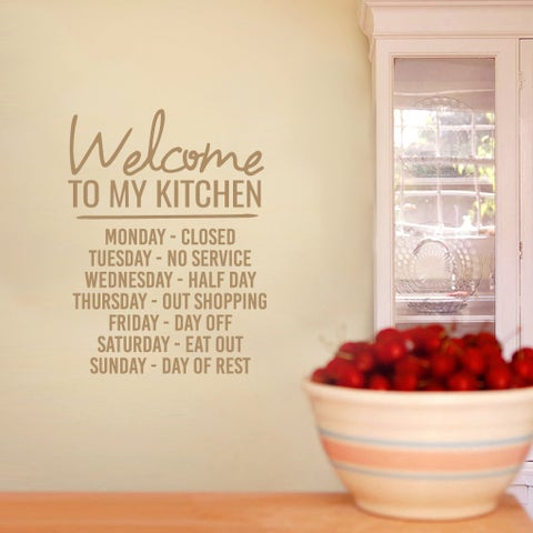 Welcome To My Kitchen Wall Decal 18-inch wide x 24-inch tall