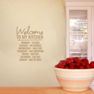 Welcome To My Kitchen Wall Decal 14-inch wide x 18-inch tall