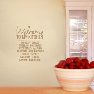 Welcome To My Kitchen Wall Decal 14-inch wide x 18-inch tall (3 options available)