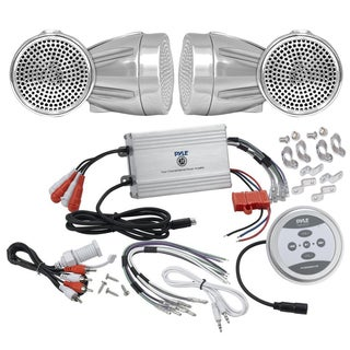 Pyle KTHSP430 1200w Motorcycle/ ATV/ Snowmobile Sound System with Bluetooth Amp/ Weatherproof 2.25-inch Speakers/ Silver Cables