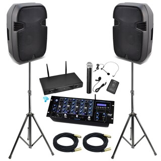 Pyle KTHSP490 15-inch Bluetooth DJ/ PA Speaker System with Mixer and Wireless Mic/ Speakers Stand/ XLR Cables