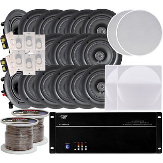 New Pyle 8-Channel 8000W 8-room In-ceiling 16 Speaker System with Amplifier/ 8 Volume Controls/ 1000-foot Wire