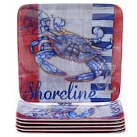 Certified International Maritime 8.5-inch Melamine Crab Salad Plates (Set of 6)