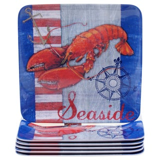 Certified International Maritime 8.5-inch Melamine Lobster Salad Plates (Set of 6)