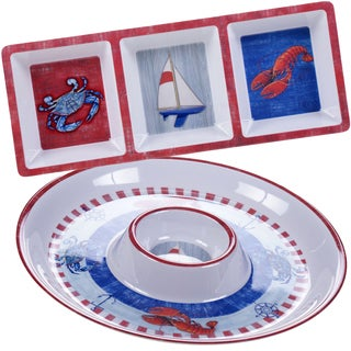 Certified International Maritime Melamine 2-piece Appetizer Set