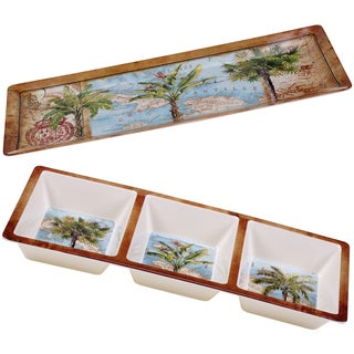Certified International Antique Palms Melamine 2-piece Platter Set
