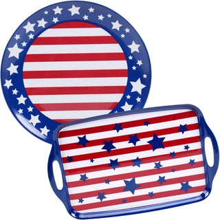 Certified International Stars & Stripes Melamine 2-piece Platter Set