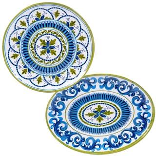 Certified International Blue Grotto Melamine 2-piece Platter Set