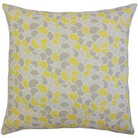 Lily Yellow Geometric 18-inch Down and Feather Filled Throw Pillow