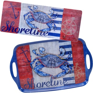 Certified International Maritime Melamine Crab 2-piece Platter Set