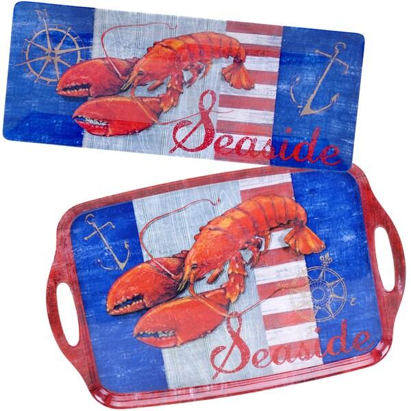 Certified International Maritime Melamine Lobster 2-piece Platter Set