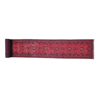 XL Vegetable Dyes Afghan Khamyab Hand-knotted Runner Rug (2'8 x 22')