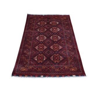 Vegetable Dyes Black Afghan Khamyab Pure Wool Handmade Rug (2'7 x 4'1)