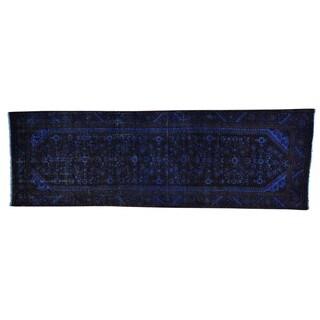 Overdyed Handmade Semi Antique Hamadan Runner Rug (3'3 x 10'3)