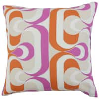 Nairobi Geometric Pink/ Orange 18-inch Down and Feather Filled Throw Pillow