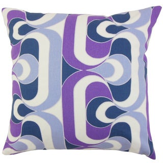 Nairobi Geometric Purple 18-inch Down and Feather Filled Throw Pillow