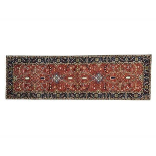 Hand-knotted Antiqued Heriz Pure Wool Oriental Runner Rug (3' x 9'8)