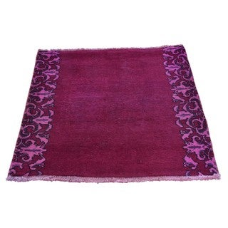 Hand-knotted Square Semi Antique Tabriz Overdyed Rug (2'6 x 2'7)