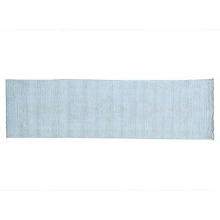 Handmade White Wash Oushak Pure Wool Oriental Runner Rug (2'9 x 9'9)