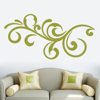 Decorative Scroll Flourish Wall Decal 60-inch wide x 30-inch tall