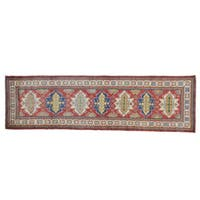 Kazak Oriental Tribal Design Handmade Pure Wool Runner Rug - 3' x 10'1