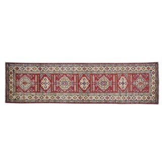 Pure Wool Handmade Super Kazak Tribal Design Runner Rug (2'10 x 10'5)