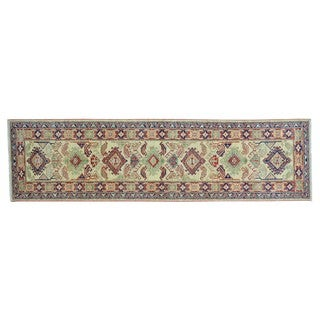 Handmade Pure Wool Super Kazak Tribal Design Runner Rug (2'9 x 10'2)