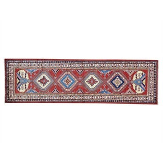 Geometric Design Super Kazak Pure Wool Handmade Runner Rug (2'6 x 8'6)