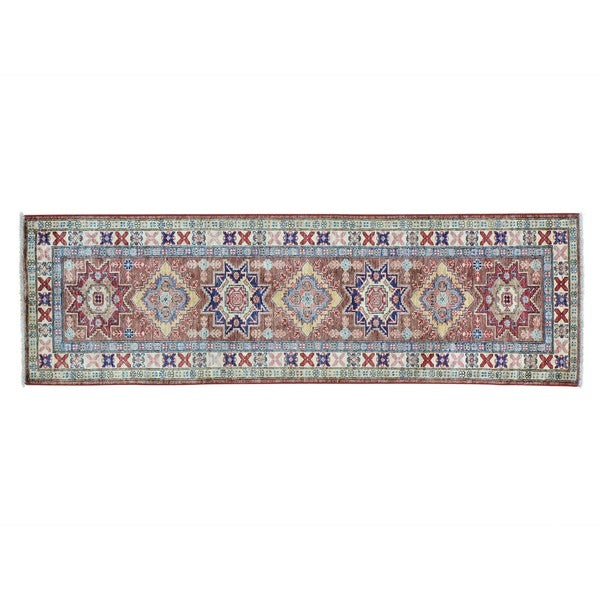 Super Kazak Pure Wool Hand-knotted Oriental Runner Rug (2'4 x 8')