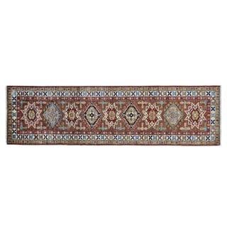 Super Kazak Pure Wool Hand-knotted Oriental Runner Rug (2'6 x 9'1)