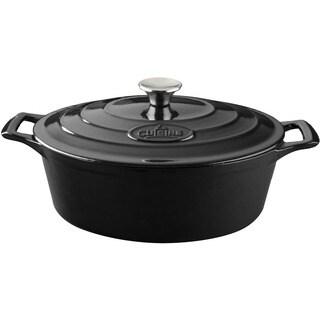 La Cuisine PRO Black Cast Iron Oval 6.75-quart Casserole Dish