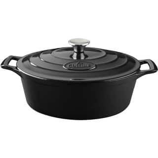La Cuisine PRO Black Cast Iron Oval 6.75-quart Casserole Dish|https://ak1.ostkcdn.com/images/products/11367710/P18338122.jpg?impolicy=medium
