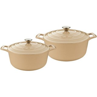 La Cuisine Cream Enamel Cast Iron 4-piece Round Casserole Set