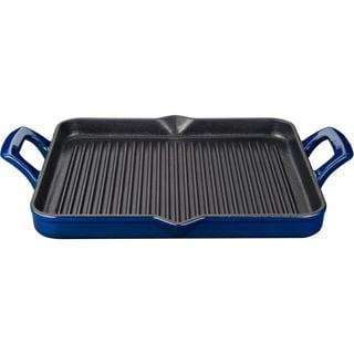 La Cuisine Blue Cast Iron Rectangular 1-quart Grill Pan