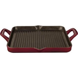 La Cuisine Ruby Cast Iron Rectangular 1-quart Grill Pan
