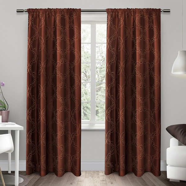 ati home como embroidered rod pocket window curtain 84 96 inch length panel pair free. Black Bedroom Furniture Sets. Home Design Ideas