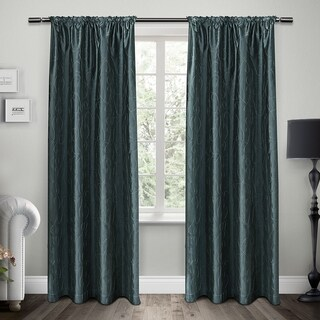 ATI Home Saturn Rod Pocket Embroidered Window Curtain Panel Pair - N/A
