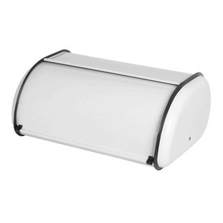 Sweet Home Collection Stainless Steal Breadbox with White Finish